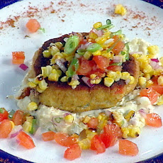 Salt Cod and Lobster Cakes with Roasted Corn Relish and a Classic Tartare Sauce