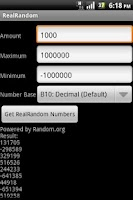 Screenshot of RealRandom Number Generator