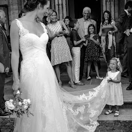 Brides Little Helper by Lisa Shalom - Wedding Bride ( blackandwhite, married, justmarried, black and white, wedding, newlywed, bw, bride, bwwedding, just married, Wedding, Weddings, Marriage, people, crowd, humanity, society )