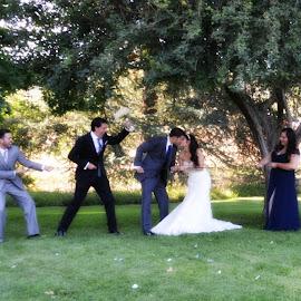 Tug -O-War Bridal Party by Nancy Lowrie - Wedding Groups ( Wedding, Weddings, Marriage )