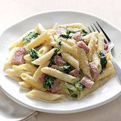 Lemon Penne with Ham and Escarole