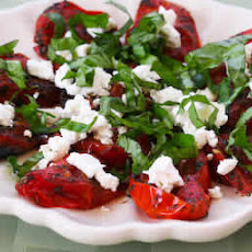 Quick Roasted Tomatoes with Basil and Goat Cheese