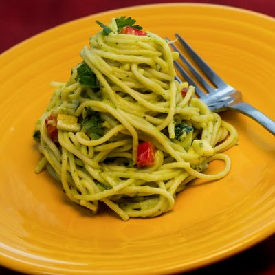 Pasta with Avocado Pesto and Vegetables