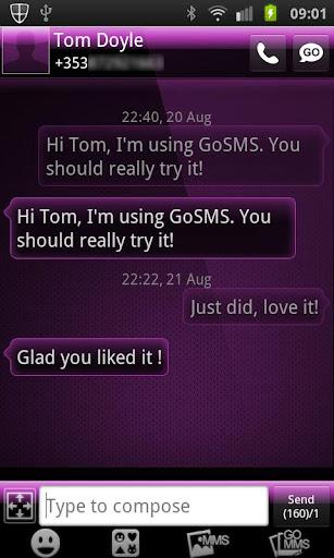 GO SMS PRO THEME Purple Gloss