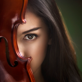 the musician by Ivan Lee - People Portraits of Women ( music, canon, model, girl, violin, beauty )