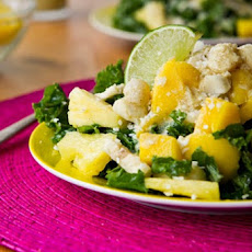 Tropical Mango, Banana, Pineapple Kale Salad with Creamy Pineapple Lime Coconut Dressing