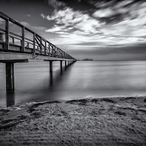 Pier at Bjärred. by Per-Ola Kämpe - Black & White Landscapes ( black and white, b&w, landscape,  )