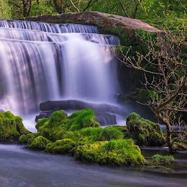 Monsal  by Laura Kenny - Landscapes Waterscapes ( water, england, flowing, flowing water, waterfall, weir, long exposure, flow, derbyshire )