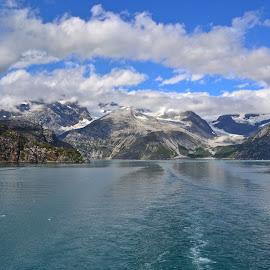 Cloudy Alaska by Joey Hiles - Landscapes Mountains & Hills ( clouds, fiord, blue sky, mountain, alaska, ocean )
