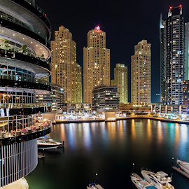 Marina Lights by Scott Lorenzo - City,  Street & Park  Night ( urban, buildings, night, cityscape, city )