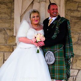 Happy Smiley People by Ray Rosher - Wedding Bride & Groom ( honeymoon, kilt, wedding gown, wedding, wedding dress, bride and groom, wedding cake, groom, wedding ceremony )