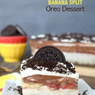 No Bake Banana Split Oreo Dessert