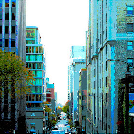 Montreal in Blue by Ronnie Caplan - Digital Art Places ( montreal, streetscene, offices, buildings, trees, perspective, windows, downtown, city )