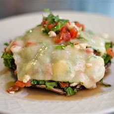 Portobello Bruschetta with Three Cheeses