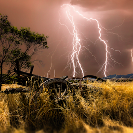 Wheatbelt Thunderstorm by Craig Eccles - Landscapes Weather ( thunder, lightning strike, lightning storm, straw, clouds., wagon, storm, lightning, lightning bolt, tree, hay, weather, thunder storm, thunder bolt )