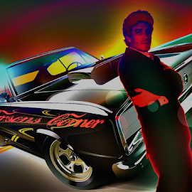 I am Pop Art by William Carson - Digital Art People ( pop art, muscle car, highway, road trip, carson )
