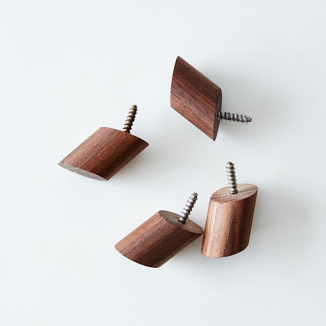 Walnut Round Wall Hooks (Set of 4)