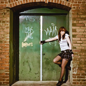 Devil at the Door by Dayton Brown - People Portraits of Women ( skirt, model, gothic, alternative, modelling, cute, portrait, sexy, girl, female, woman, outdoor, dark, hot, night )