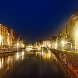 Bruges by night by Laura Prieto - City,  Street & Park  Historic Districts ( night photography, bruges, belgium, urban landscape, river )
