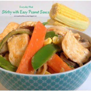 Recipe for Stir-fry with Easy Peanut Sauce !!