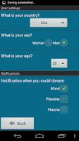 Screenshot of Blood Donation Reminder