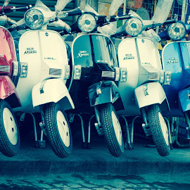 colored motorbikes by Marwa Ibrahim - Transportation Motorcycles ( sepia, pattern, motorbike, colors, street )
