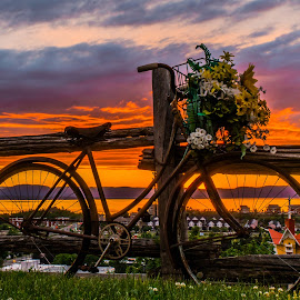 Bicyclette au couché de soleil by Bertrand Lavoie - Transportation Bicycles ( sunset, biciclette, bicycle )
