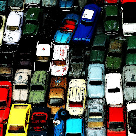 Friday Night Drive Home by Sean Laffey - Illustration Products & Objects ( stuck in traffic, bumper to bumper, traffic jam, tpys cars, ruish hour )