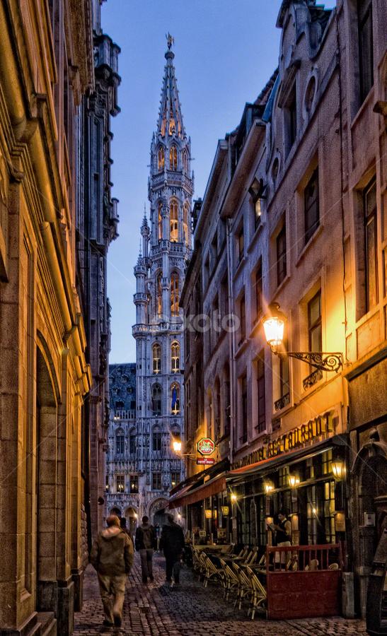 Brussels street by Anton Donev - City,  Street & Park  Street Scenes ( street, grand place, restaurant, brussels, city )