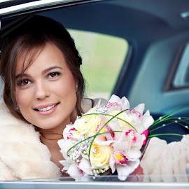 Kristina by Nerijus Nagulevicius - Wedding Bride ( car, female, wedding, flowers )