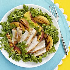 Grilled Chicken, Peach and Arugula Salad