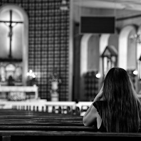 Prayer to the Lord by Ferdinand Ludo - Black & White Street & Candid ( sunday, young lady prays to the lord, , building, interior, worship )