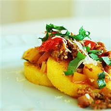 Polenta with Spicy Sausage-Veggie Sauce