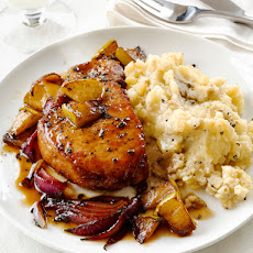 Pork Chops With Apples and Garlic Smashed Potatoes