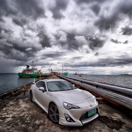 TOY86 by Ferdinand Ludo - Transportation Automobiles ( toyota 86, pier, factory, pearl white, friend )