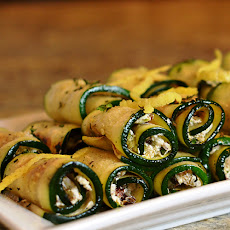 Grilled Zucchini & Goat Cheese Rollatini with Raisins & Pistachios