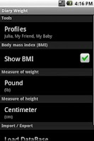 Screenshot of Diary Weight