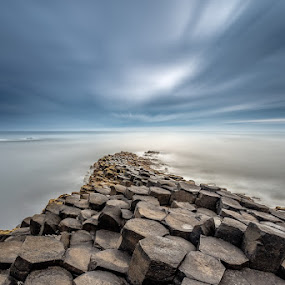 Giant's Causeway by Ryszard Lomnicki - Landscapes Cloud Formations ( clouds, cliffs, ireland, dingle, dublin, belfast, bushmills, galway, cliffs of moher, ocean, giant's causeway, sunset, mayo, northern ireland, kerry, sunrise, , #GARYFONGDRAMATICLIGHT, #WTFBOBDAVIS )