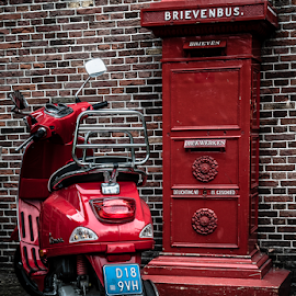 red... by Anneke Reiss - City,  Street & Park  Street Scenes ( mail, old, zaan, mailbox, typicall, red, zaanse schans, holland, dutch, box, new., scooter, wall )