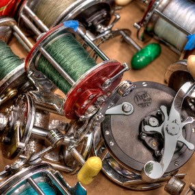 Reel Lines by Dennis McClintock - Artistic Objects Still Life ( fishing line, fishing reels, get knotted challenge, still life, fishing,  )