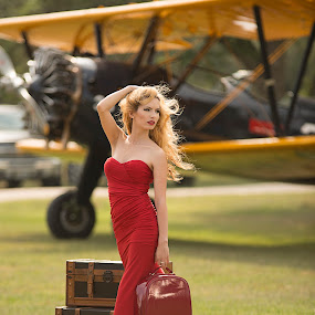 Lady In Red by Michael Giardina - People Portraits of Women ( natural light, blonde, airplane )