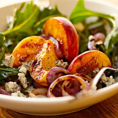 Grilled Peaches, Gorgonzola and Dandelion Greens