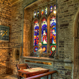 The Desk. by Pete Watson - Buildings & Architecture Places of Worship ( tamron 18-270mm zoom, weston in gordano, pete watson 01934 645937, hdr, indoor, handheld, indoors, hand held hdr, pete watson photography, photoshop cs5, nikon d90, historic, © pete watson photography, pete_watson@hotmail.co.uk, south west, window, interiors, august, summer, colour efex pro 4, photomatix pro 4.1, stained glass )