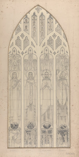 The twelve African saints in this pencil drawing indicate that the window may have been commissioned by a missionary religious order, either for a church in Ireland or another Western country, or possibly for an African church.