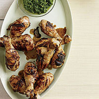 Grilled Drumsticks with Citrus-Herb Dipping Sauce