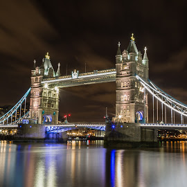 Tower Bridge by Marcel Herciu - City,  Street & Park  Night ( night photography, london, blue, tower bridge, long exposure,  )