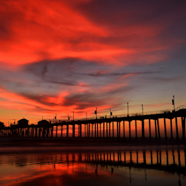 Huntington Beach Pier by Dan Pham - Buildings & Architecture Bridges & Suspended Structures ( colour, sunset, cloud, pier, beach )