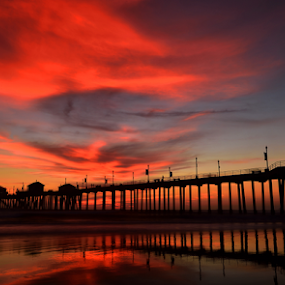 Huntington Beach Pier by Dan Pham - Buildings & Architecture Bridges & Suspended Structures ( colour, sunset, cloud, pier, beach,  )