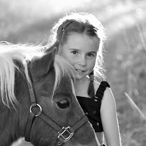 My sweetie by Giselle Pierce - Babies & Children Children Candids ( child, miniature horse, little girl, faces, girl, dress, horse, halter, head, kid )