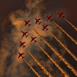 Reds Formation by Kelly Murdoch - Transportation Airplanes ( clouds, red arrows, smoke, ztam, flying, sky, plane, ztam photography, trail, iow, isle of wight, raf, jet )